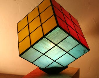 """Tiffany stained glass Tiffany, Contemporary Art, table lamp """"RuVik's Cube"""" lamp"""