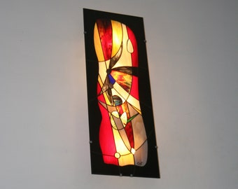 "Very Large (96x35 cm) Wall applique/Table Light in Tiffany stained glass ""Eyjafjall"""