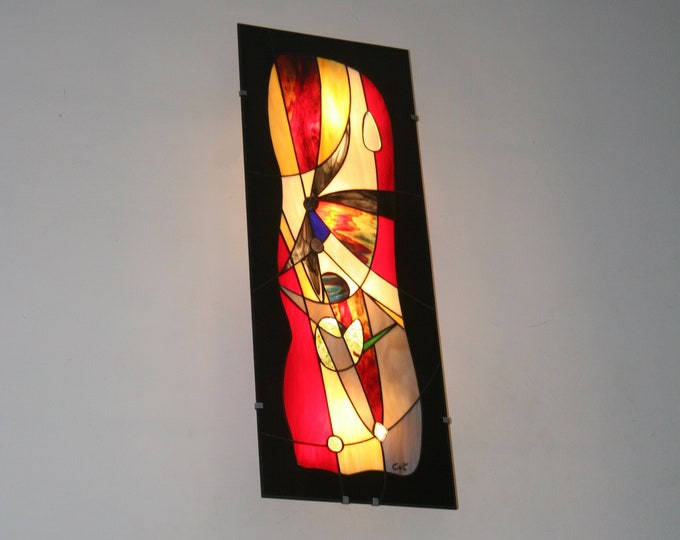 "Featured listing image: Very large (96 x 35 cm) wall / table light stained glass Tiffany ""Eyjafjöll"""