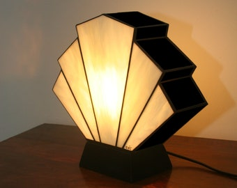 "Tiffany Art Deco Glass Lamp ""Flabellum Amber Black"""