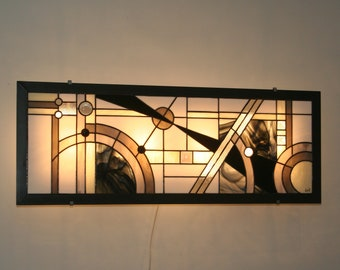 "Very large (94 x 35 cm) wall / table light stained glass Tiffany ""Edora"""