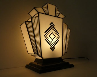 """Large Art Deco Lamp """"1932"""" Stained Glass Tiffany"""