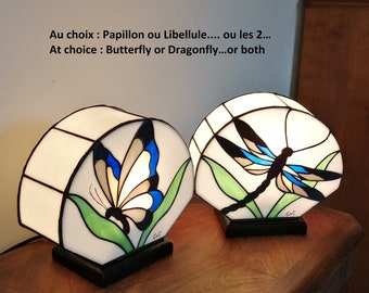 """Tiffany Art Nouveau lamp, Tiffany stained glass, """"Butterfly or Dragonfly"""" table lamp"""