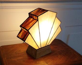 Tiffany Flabellum Caramel-Chocolat Art Deco Lamp