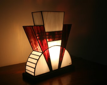 "Tiffany lamp, Art Deco stained glass Tiffany lamp, table ""Blood red"" lamp"