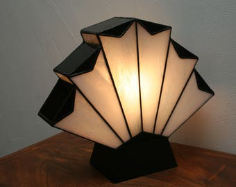"Art Deco lamp, Tiffany lamp, Tiffany stained glass, ""Flabellum 1929"" posing lamp"