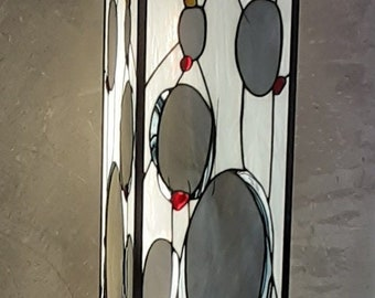 """Very large Tiffany stained glass lamp in Contemporary style polished concrete base """"Falling Stones"""""""
