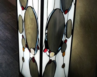 "Very large lamp Tiffany style of contemporary stained glass Tiffany and concrete ""STONEFALLS"" base"