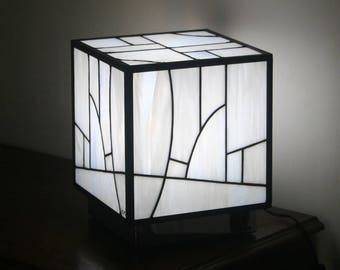 "Lamp Tiffany stained glass Tiffany, Contemporary Art, table lamp ""Kube white"""