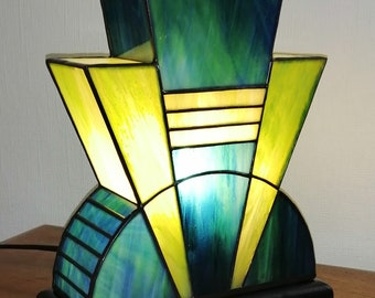 "Tiffany Lamp, Tiffany Art Deco Lamp, Tiffany Window, ""Lazuli"" (TS)"