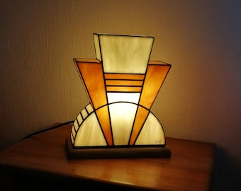 "Tiffany ""Caramel"" Art Deco Glass Lamp (TS)"