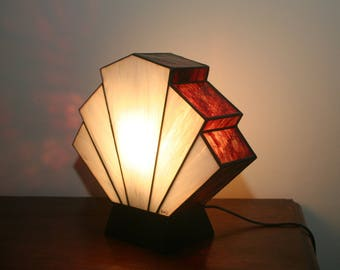 "Tiffany lamp, Art Deco stained glass Tiffany lamp, table ""Flabellum Edirne"" lamp"