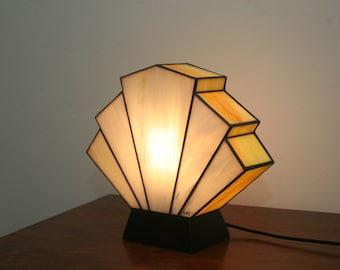 "Art Deco lamp, Tiffany stained glass, ""Flabellum Mimosa"" posing lamp"