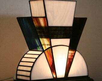 "Tiffany lamp, Art Deco stained glass Tiffany lamp, table ""The First"" lamp"