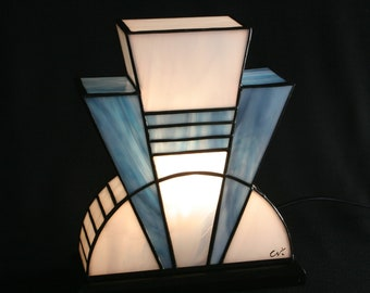 "Tiffany Lamp, Tiffany Art Deco Lamp, Tiffany Window, ""Azuréa"" (TS)"