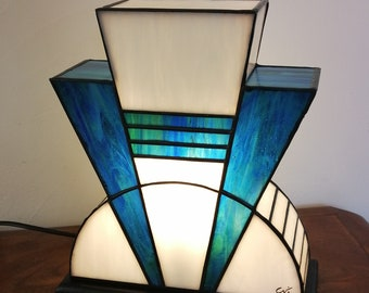 "Tiffany Lamp, Tiffany Art Deco Lamp, Tiffany Window, ""Blue Lagoon"" Lay Lamp"