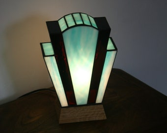 "Art Deco lamp Tiffany stained glass Tiffany ""Blue Nude"""
