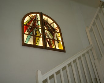 "Very large table bright stained glass Tiffany Art Contemporary Art Deco ""Window"" inspired"