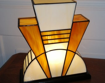 "Tiffany ""Caramel"" Art Deco Glass Lamp (TM)"