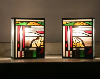 "Pair Applys Tiffany Contemporary Art, Tiffany Stained Glass, ""Newold-2"" Wall Appliques"