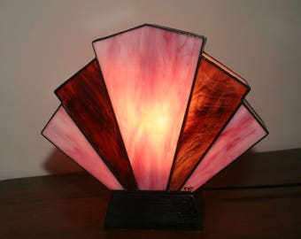 "Tiffany lamp, Art Deco stained glass Tiffany lamp, table ""Flabellum lilac"" lamp"