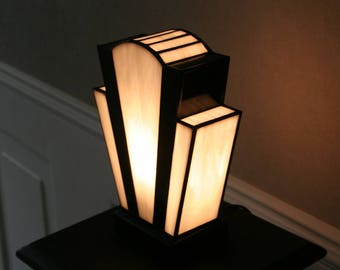 "Art Deco lamp, Tiffany lamp, Tiffany stained glass, ""nude Blanche"""