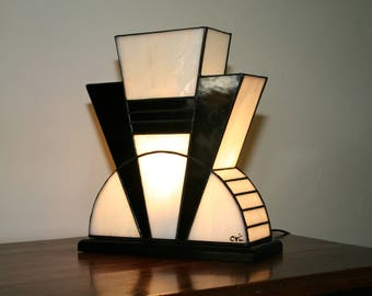 "Tiffany ""Black and White"" Art Deco Lamp (TM)"