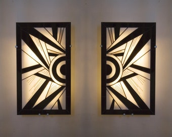 """Pair large Art Deco Appliques wall stained glass Tiffany """"Ycara III"""" (34-56 cm)"""