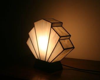 "Tiffany ""Flabellum Pearl"" Art Deco Glass Lamp"