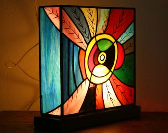 """Stained glass lamp Tiffany Contemporary Art """"Dzungla"""", grisaille and waxed concrete base"""