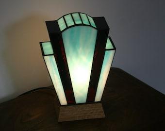 "Tiffany ""Nude Azur"" Art Deco Glass Lamp"