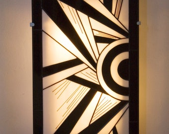 """Large Tiffany Art Deco stained glass wall applique """"Ycara III"""" (34-56 cm)"""