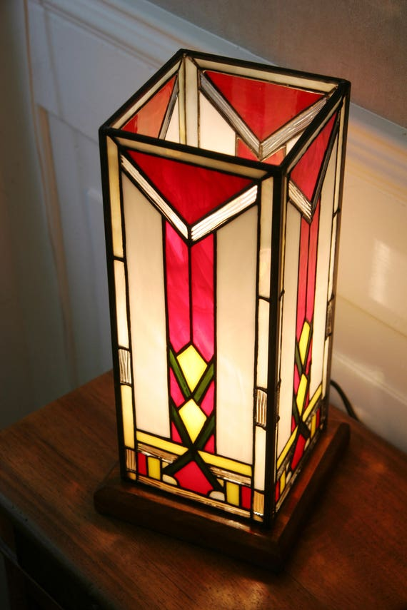 Tiffany Lamp Art Deco Lamp Tiffany Stained Glass Etsy