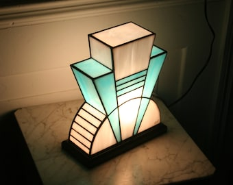 "Tiffany ""Azur"" Art Deco Glass Lamp (TM)"