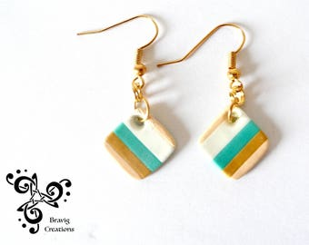 Square Beige and Green strips earrings made with cold porcelain