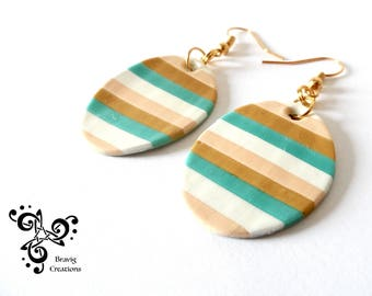 Ovale Beige and Green strips earrings made with cold porcelain