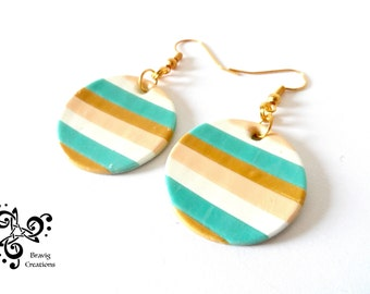 Beige and Green strips earrings made with cold porcelain