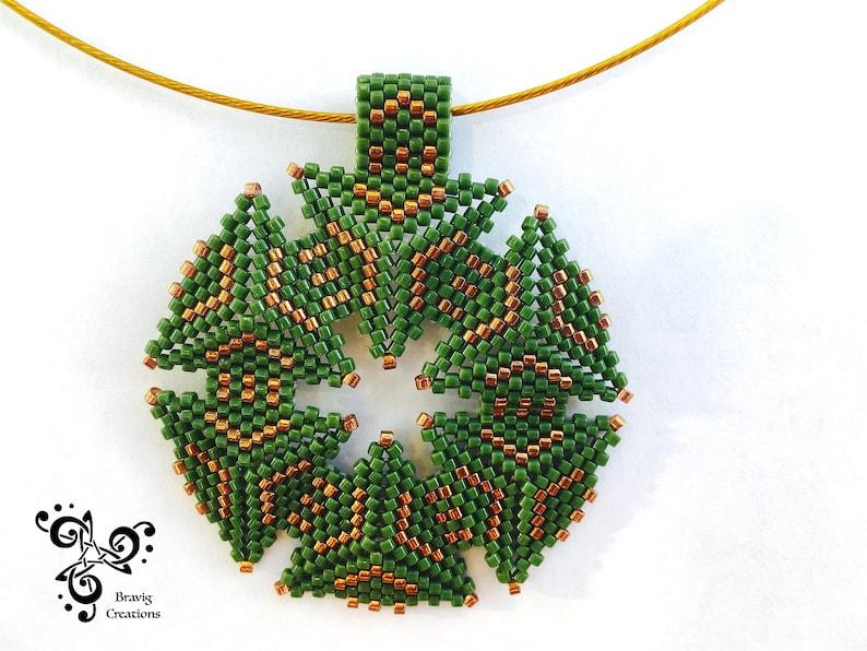 Peyote triangle loom Necklace made with Miyuki earring