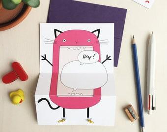HEY! Cat unfolding greeting card