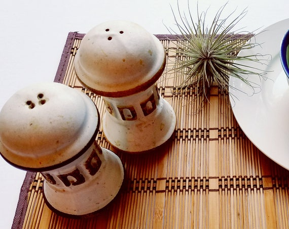 Vintage White Ceramic Salt and Pepper Shakers