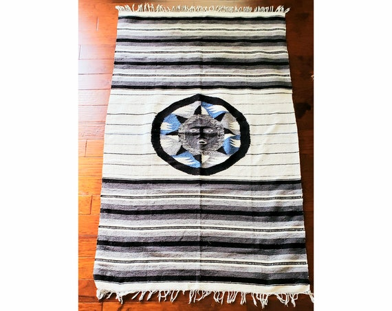 Extra Large Vintage Falsa Blanket with Tribal Medallion Center