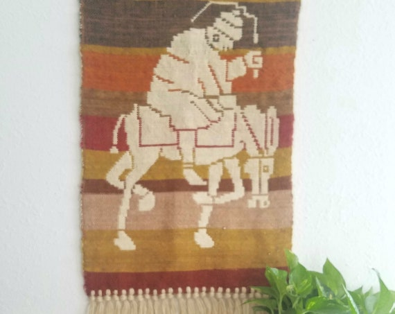 Vintage Southwestern Wall Tapestry with Fringe