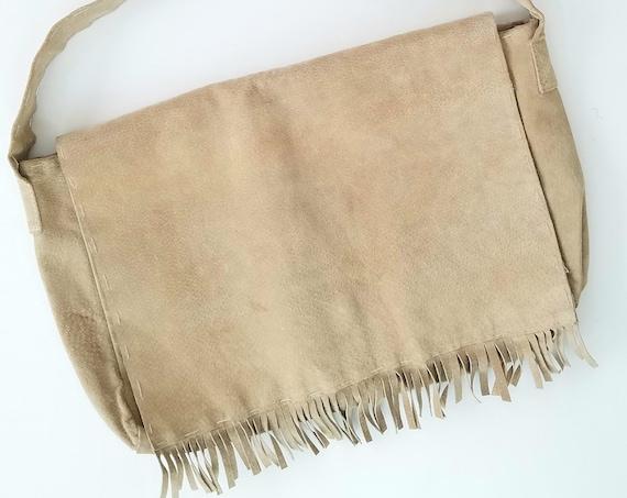 Taupe Suede Bohemian Fringe Handbag