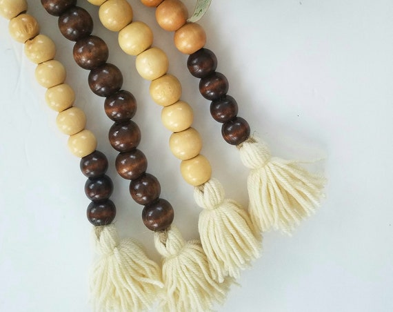 Handmade Wood Bead Garland with Tassels