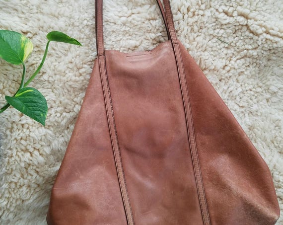 Cowhide Vintage Leather Worn Tote-bag Handbag