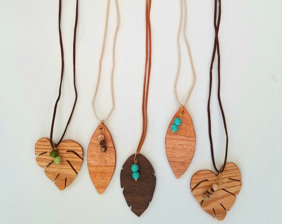 Handcrafted Wood Leaf Pendant Necklaces