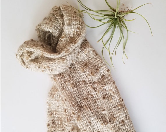 Tan and Cream Hand Knitted Scarf