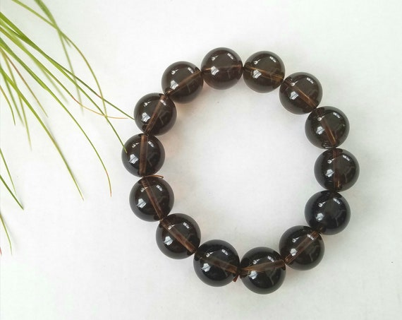 Brown Stretch Lucite Bead Bracelet