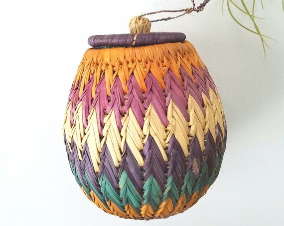 Colorful Wicker Container with Lid