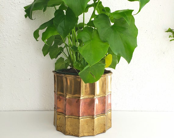 Vintage Brass and Copper Beveled  Plant Holder